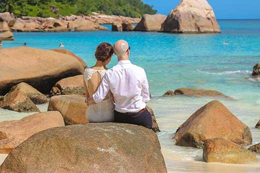 Anse Lazio beach Praslin with couple