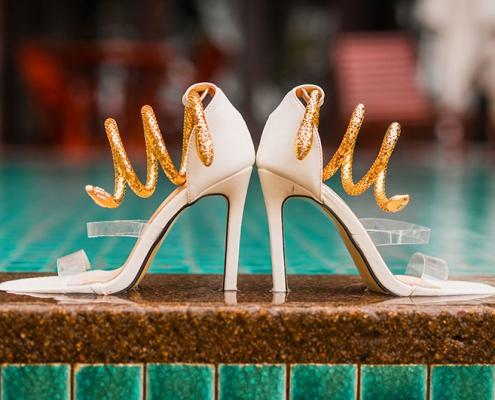 Bride's high heels