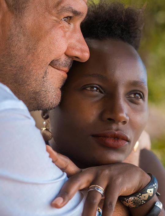 This photo shows a Germen- Kenan couple portrait closeup