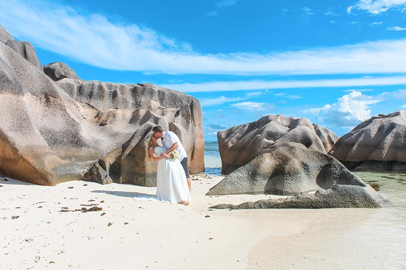 This Photo shows a couple at the beach between rocks
