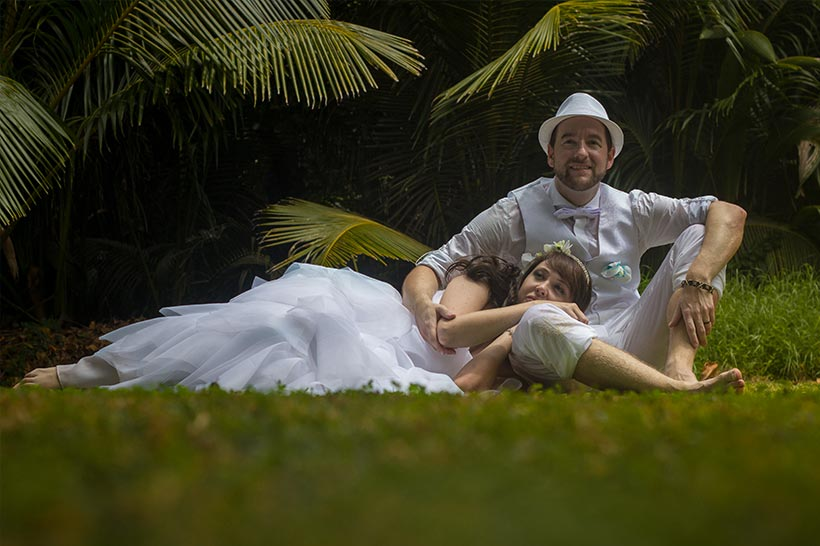 This Photo shows laying romantic in a tropical garden