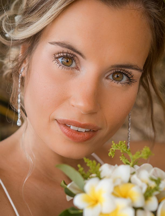 This photo shows closeup portrait of a beautiful German bride