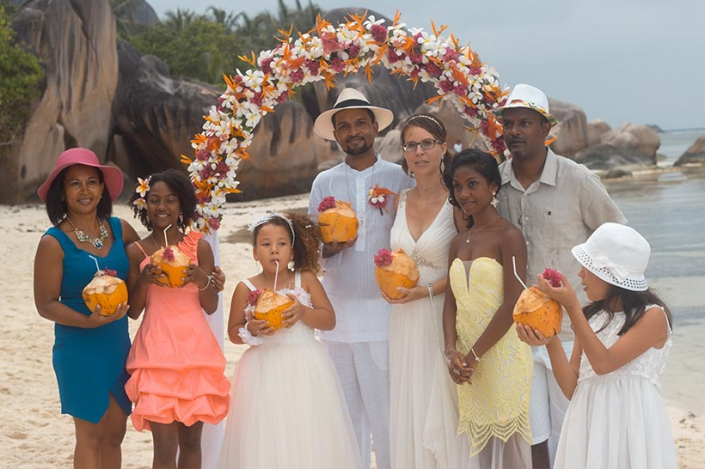 This photo shows a wedding group from La Reunion in Seychelles