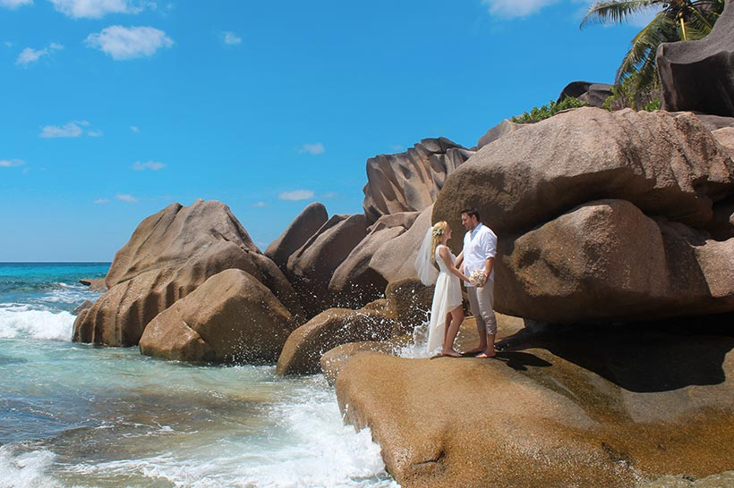 This Photo shows a scenic image with a couple in giant rocks