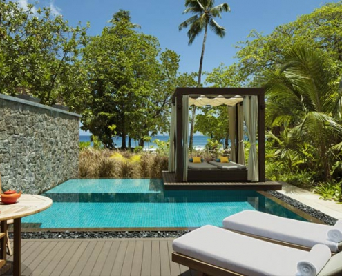 This shows a photo of the Story Resort the pool of the beach villa