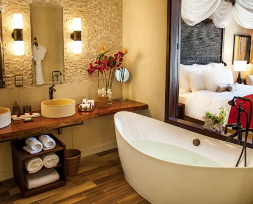 This shows a photo of the Story Resort villa bathroom