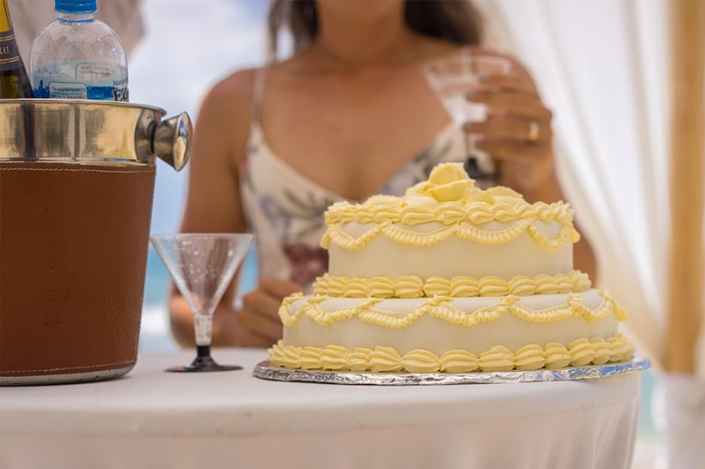 This photo shows the wedding cake on the reception table