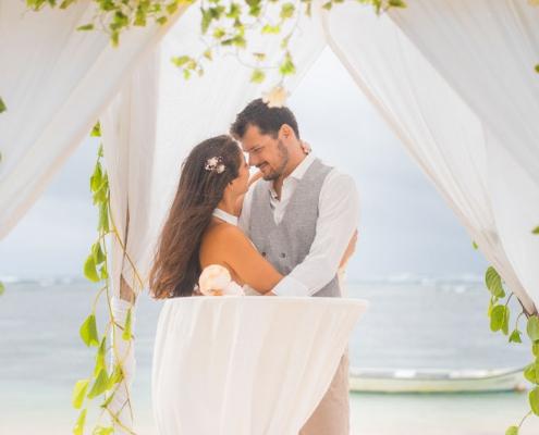 couple with wedding pavilion
