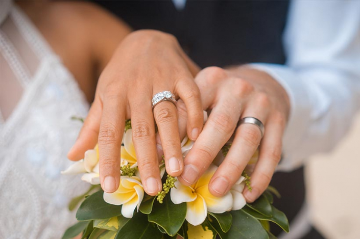 This photo shows the bouquet and the wedding rings