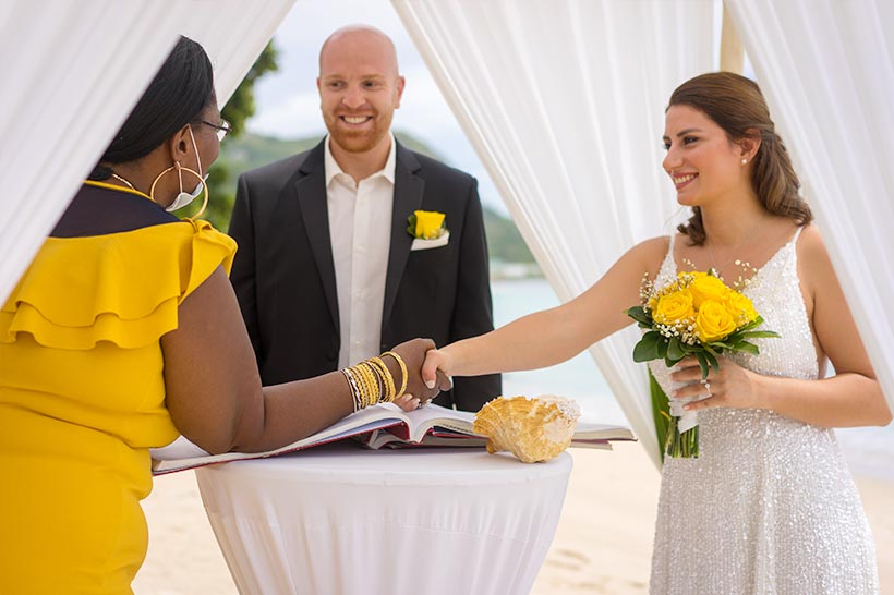 This photo shows yellow wedding-decoration theme with pavilion