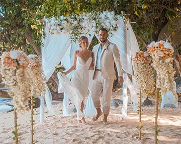 Cozy bay marriage venue, image shows couple at cozy bay venue