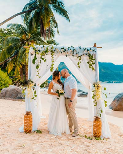 Getting married in Seychelles, image shows couple at venue