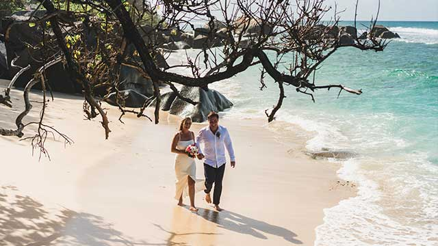 Honeymoon couple at the beach