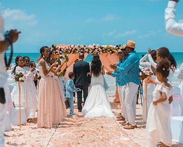 Secluded Beach Marriage Venue, with wedding group