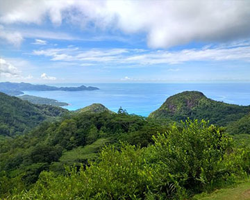 Top of mountain marriage venue, image shows scenic view over islands